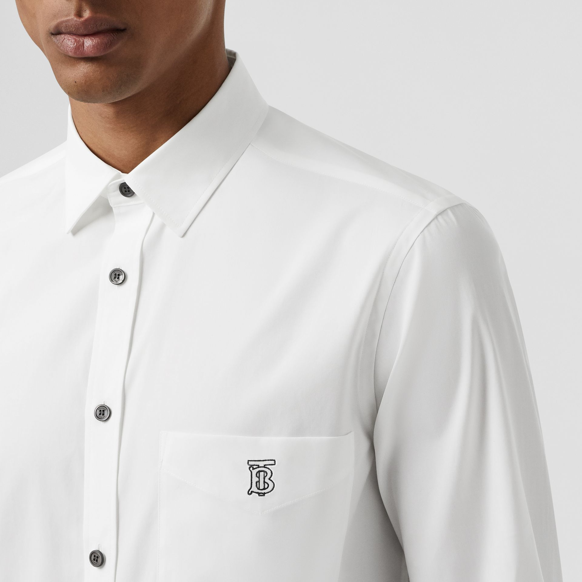 Monogram Motif Stretch Cotton Poplin Shirt in White - Men | Burberry United States - gallery image 1