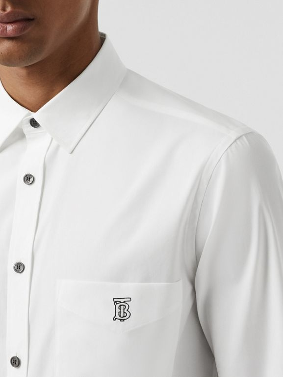 Monogram Motif Stretch Cotton Poplin Shirt in White - Men | Burberry United States - cell image 1