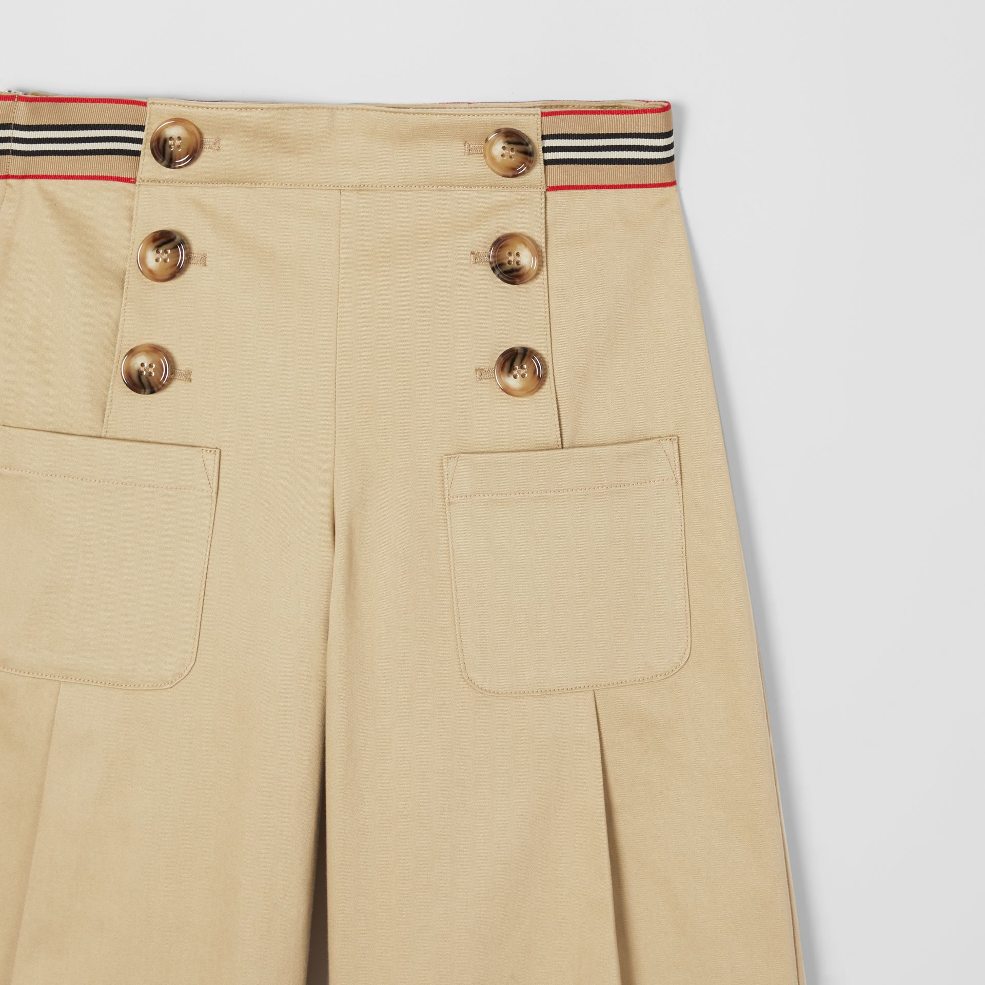 Icon Stripe Trim Cotton Sailor Trousers in Honey | Burberry United States - gallery image 3