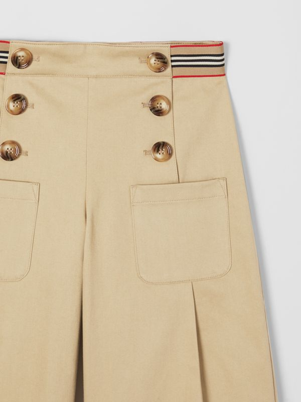 Icon Stripe Trim Cotton Sailor Trousers in Honey | Burberry United States - cell image 3