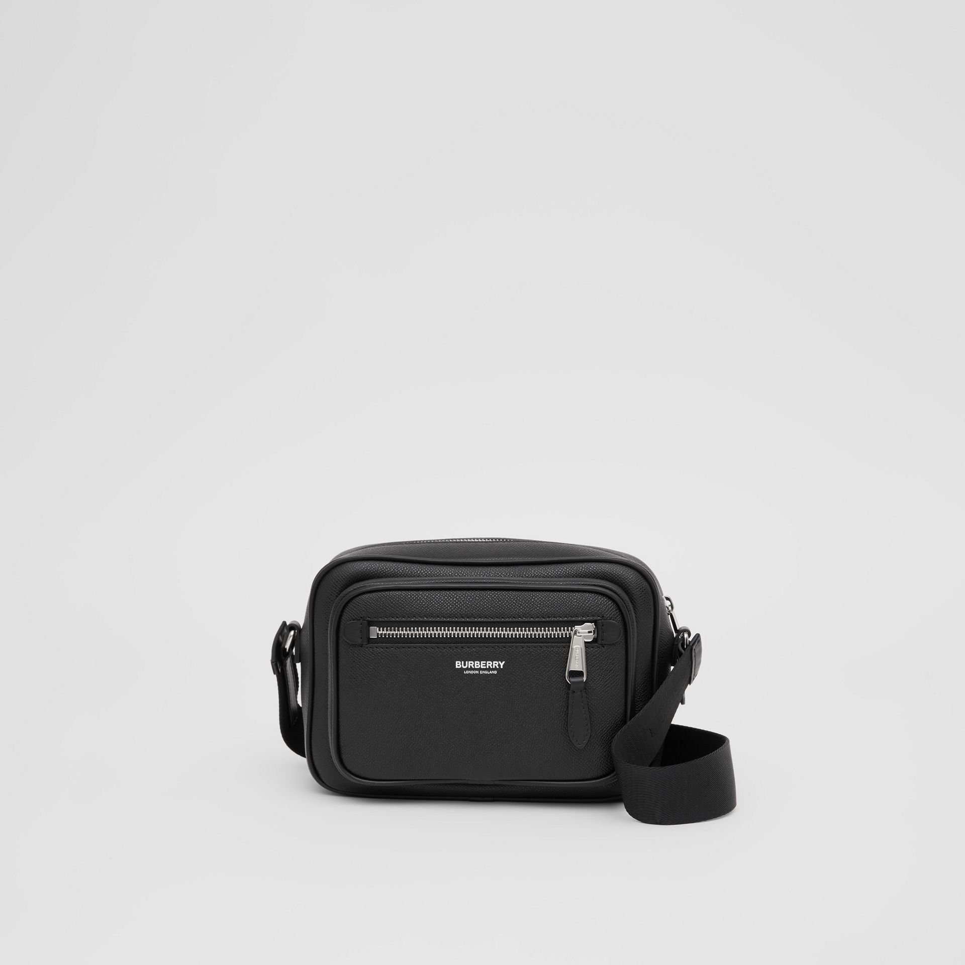 Grainy Leather Crossbody Bag in Black - Men | Burberry - gallery image 0