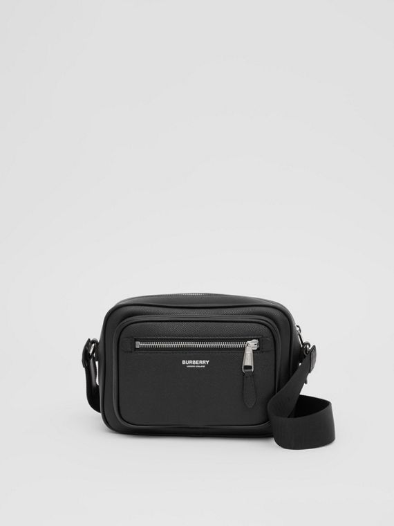 Grainy Leather Crossbody Bag in Black