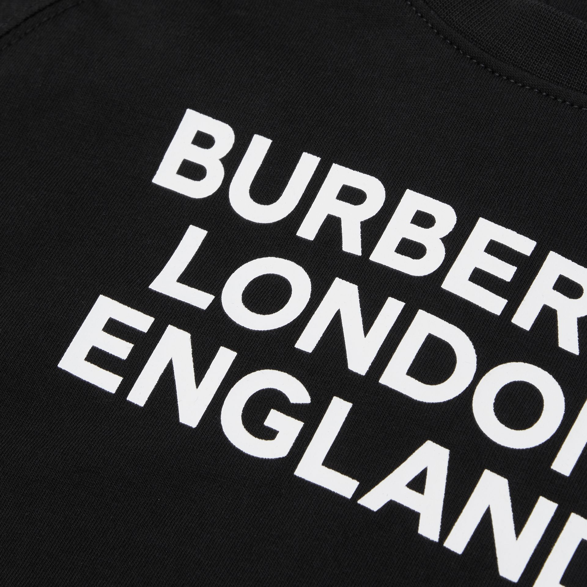 Long-sleeve Logo Print Cotton Top in Black - Children | Burberry United Kingdom - gallery image 1