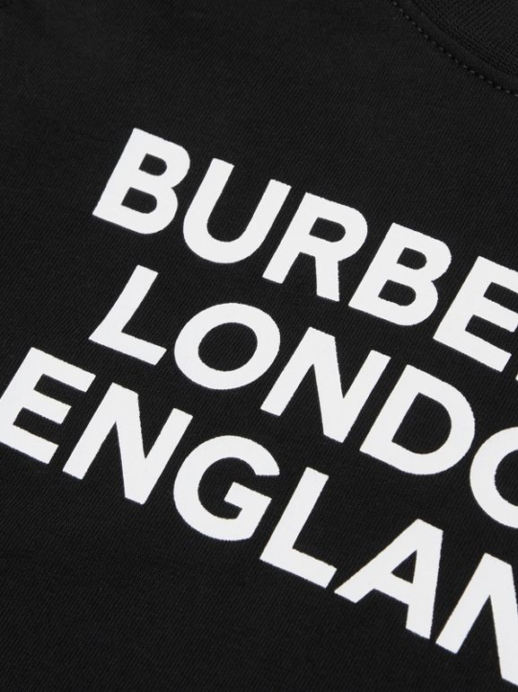 Long-sleeve Logo Print Cotton Top in Black - Children | Burberry United Kingdom - cell image 1