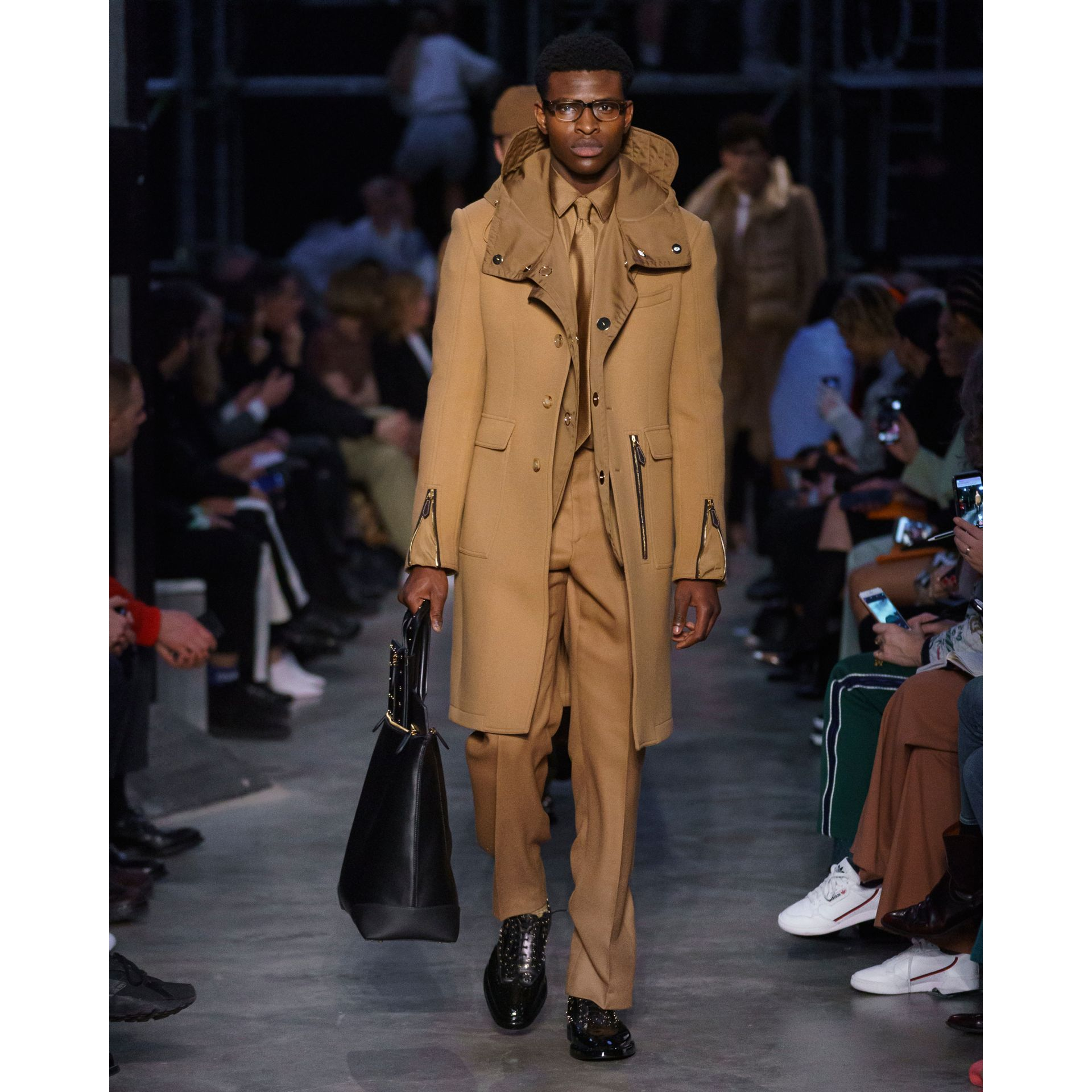 Zip Detail Wool Tailored Coat in Warm Camel - Men | Burberry - gallery image 6