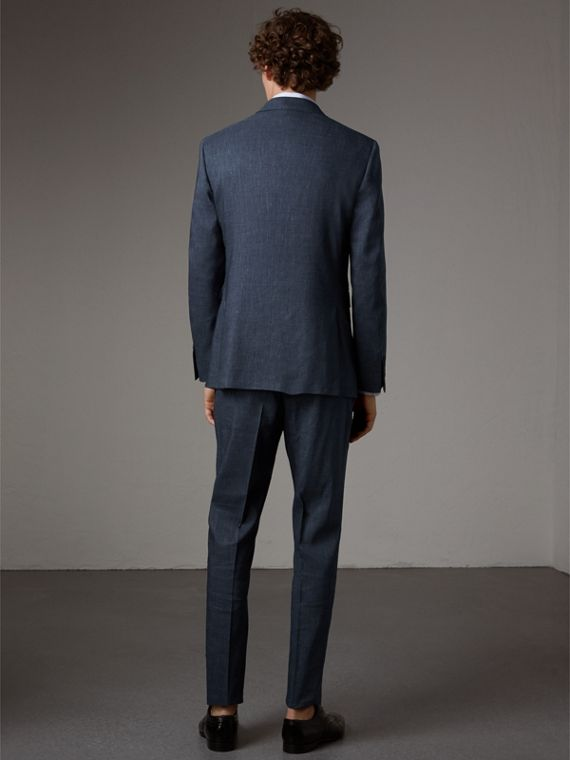Modern Fit Travel Tailoring Linen Wool Suit in Slate Blue - Men | Burberry - cell image 2