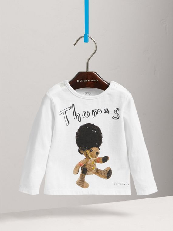 Thomas Bear Guardsman Print Cotton Top in White