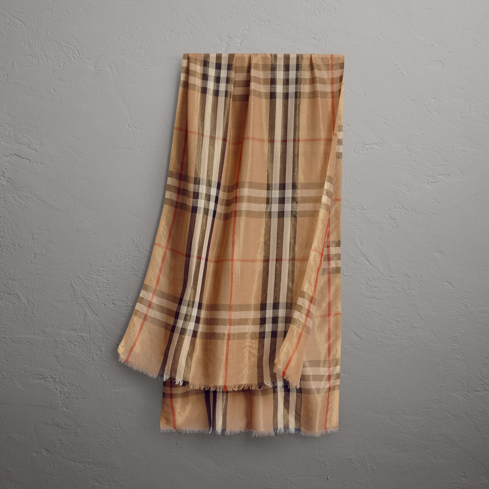 Metallic Check Silk and Wool Scarf in Camel/gold - Women | Burberry Australia - gallery image 0
