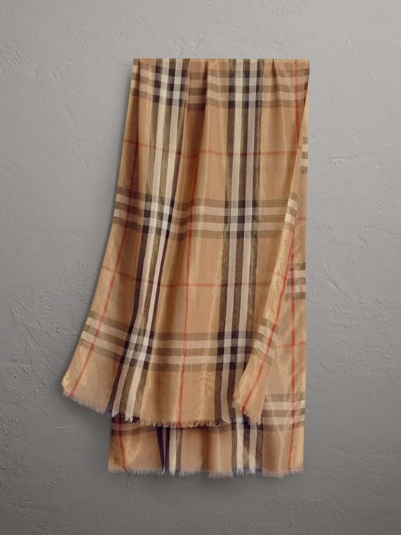 Echarpe de lã e seda com estampa xadrez metalizada (Camel/dourado)