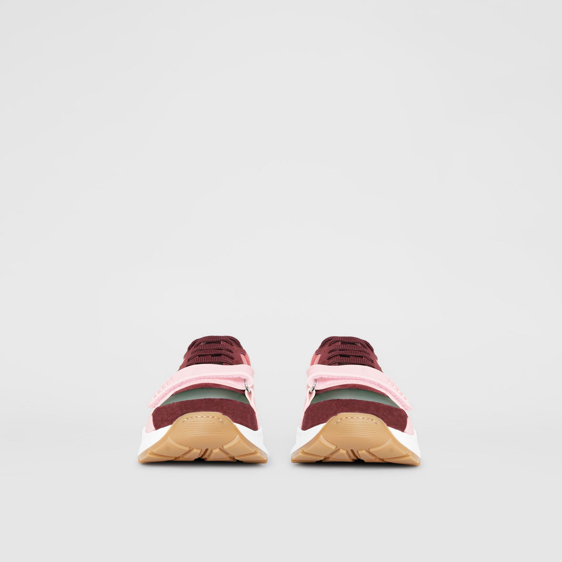 Colour Block Suede and Neoprene Sneakers in Bordeaux/khaki - Men | Burberry - gallery image 3