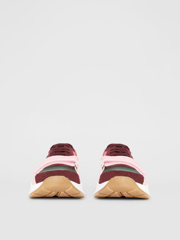 Colour Block Suede and Neoprene Sneakers in Bordeaux/khaki - Men | Burberry Canada - cell image 3