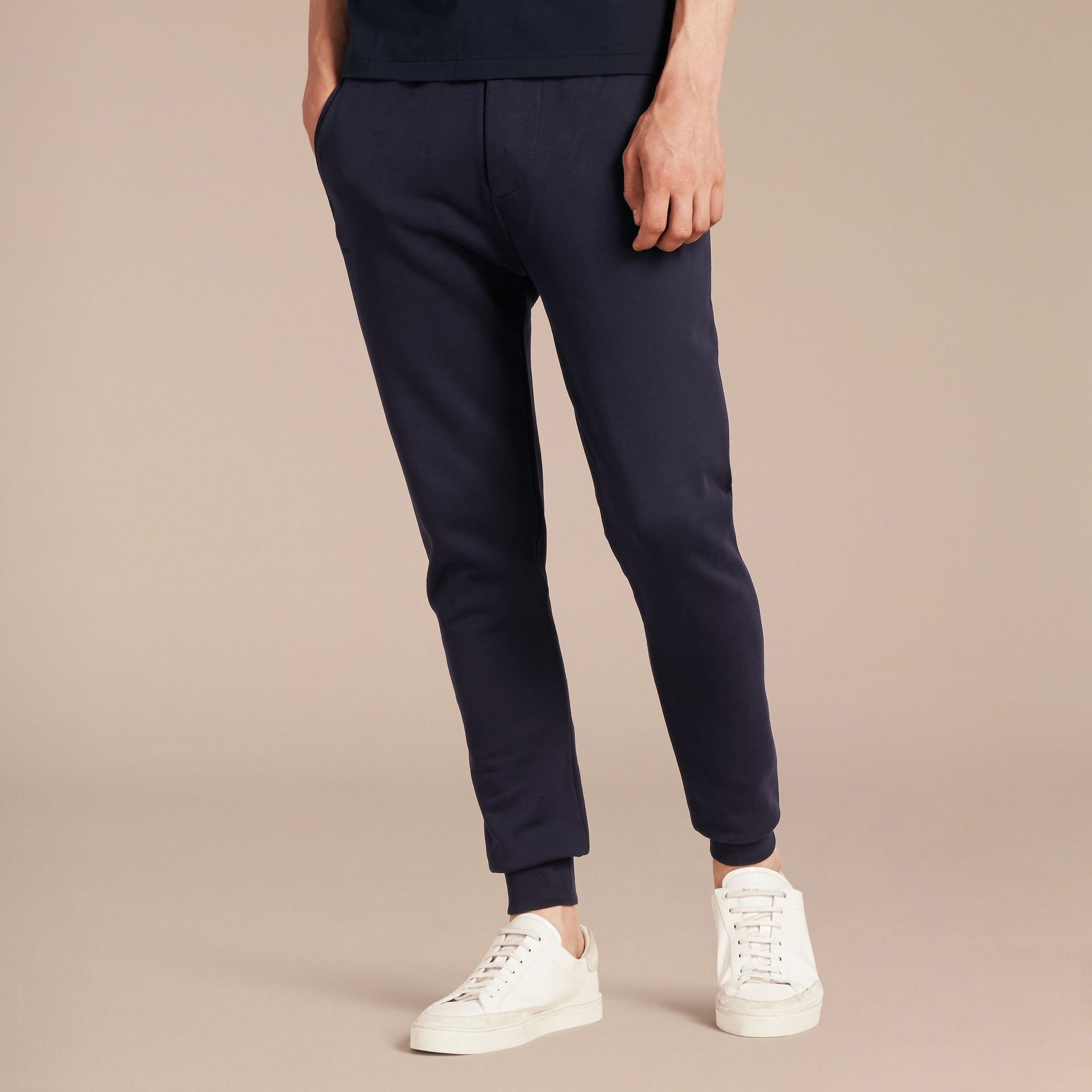 Cotton Sweatpants in Navy - gallery image 6