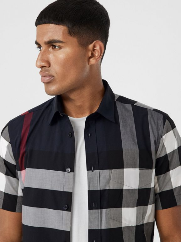 Short-sleeve Check Stretch Cotton Poplin Shirt in Navy - Men | Burberry - cell image 1