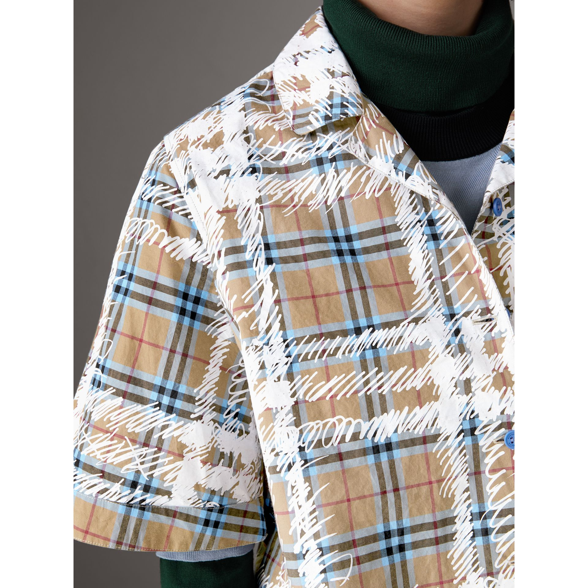 Short-sleeve Scribble Check Cotton Shirt in Bright Mineral Blue - Women | Burberry - gallery image 1