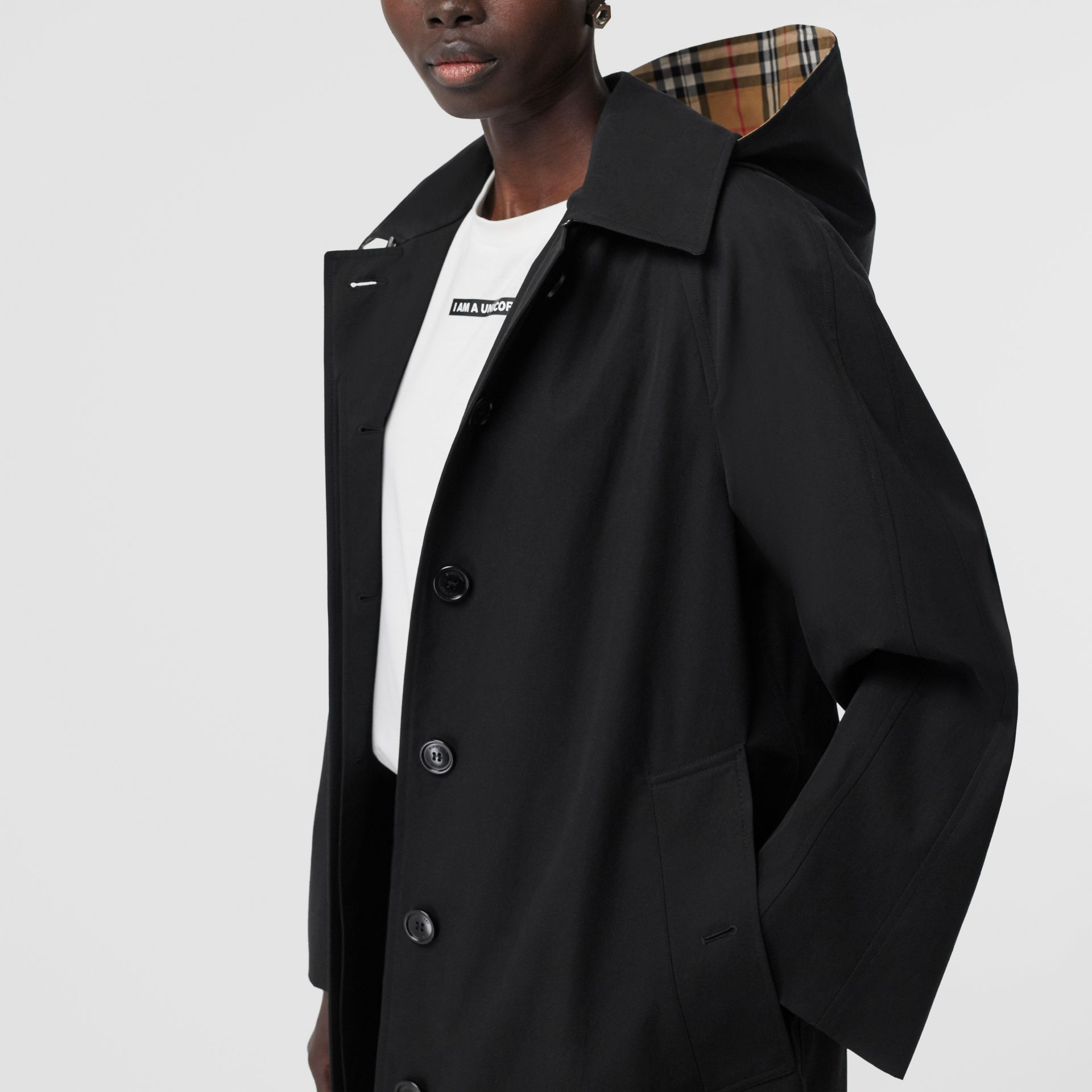 Detachable Hood Tropical Gabardine Swing Coat in Black - Women | Burberry Australia - gallery image 4