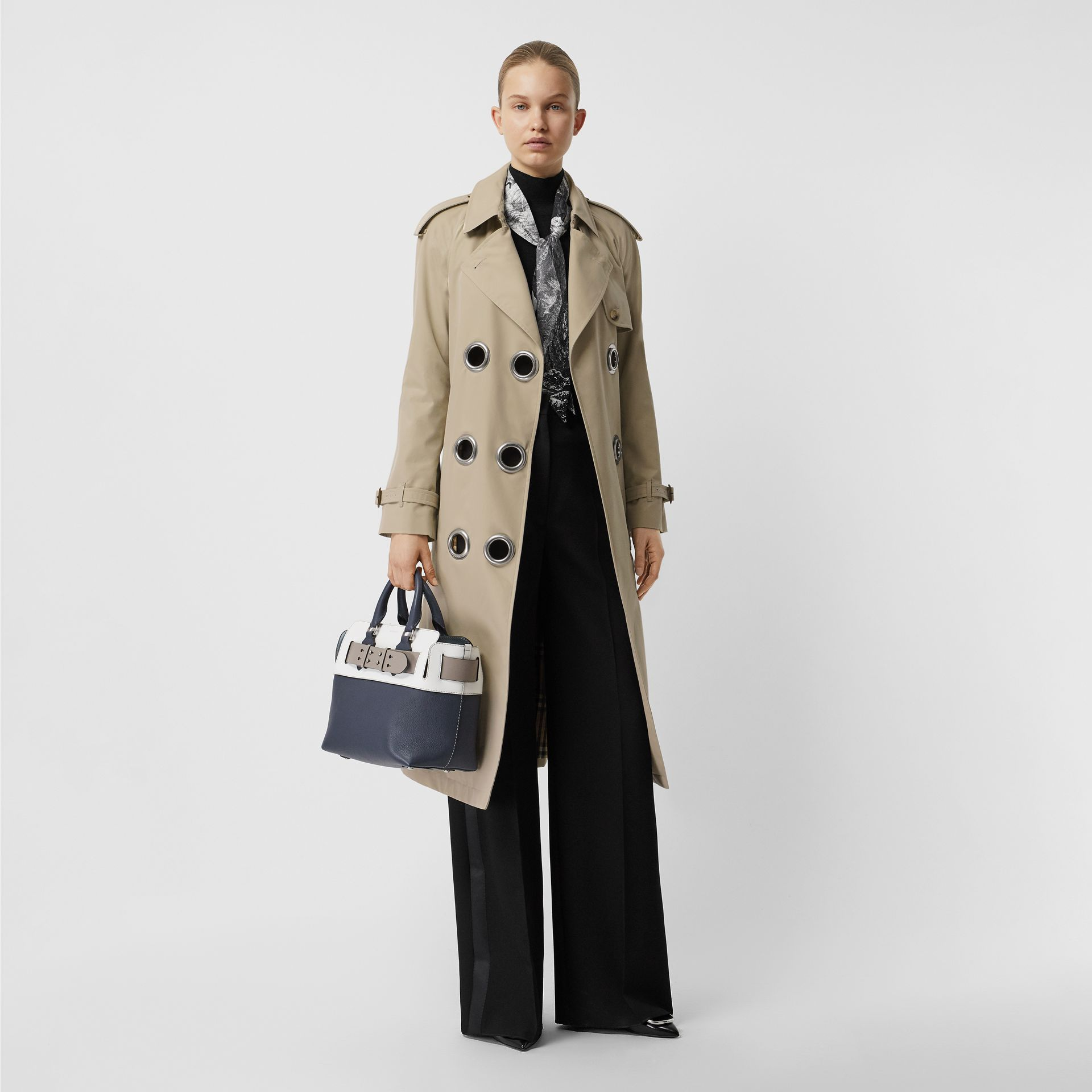 Grommet Detail Cotton Gabardine Trench Coat in Stone - Women | Burberry - gallery image 0