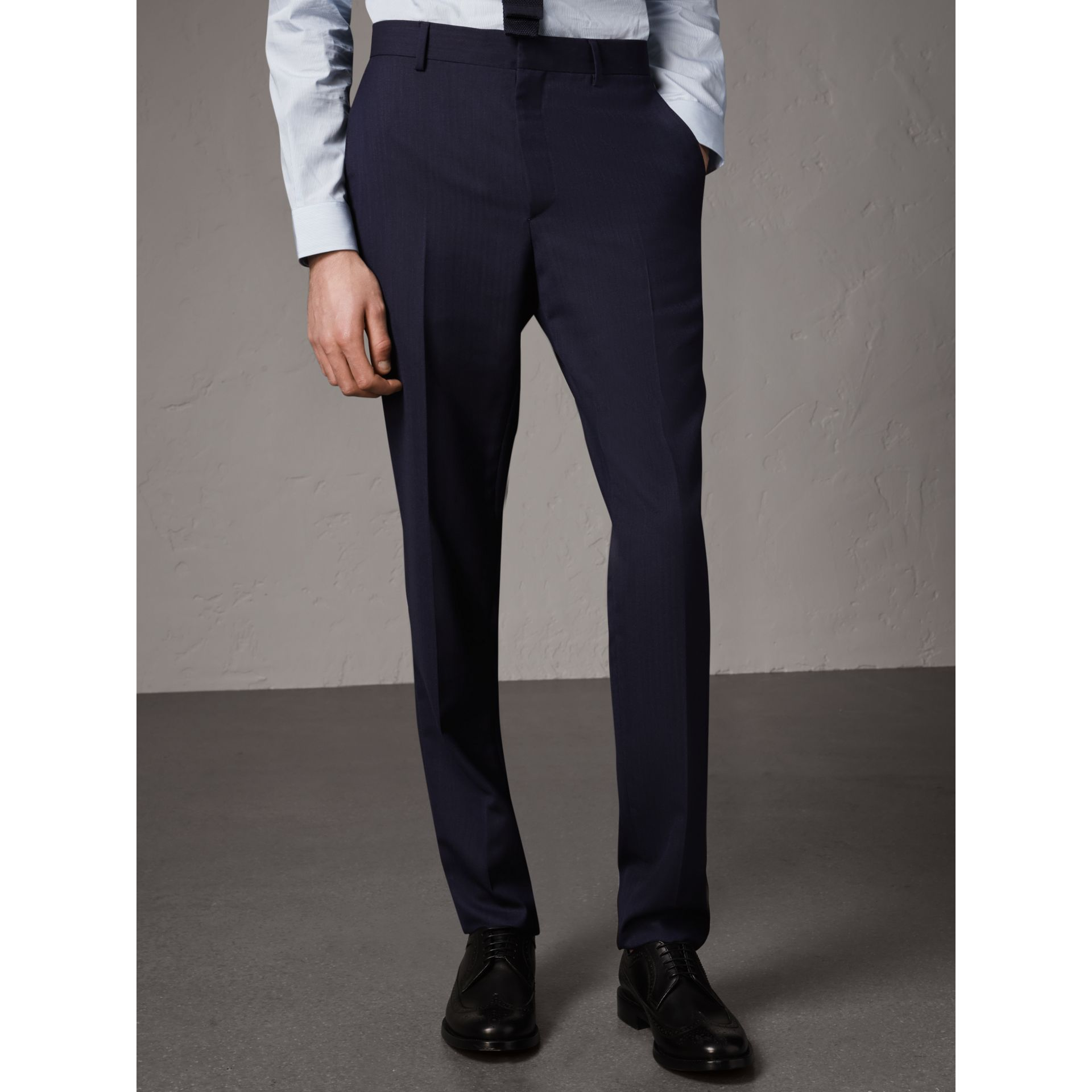 Soho Fit Herringbone Wool Suit in Navy - Men | Burberry - gallery image 7