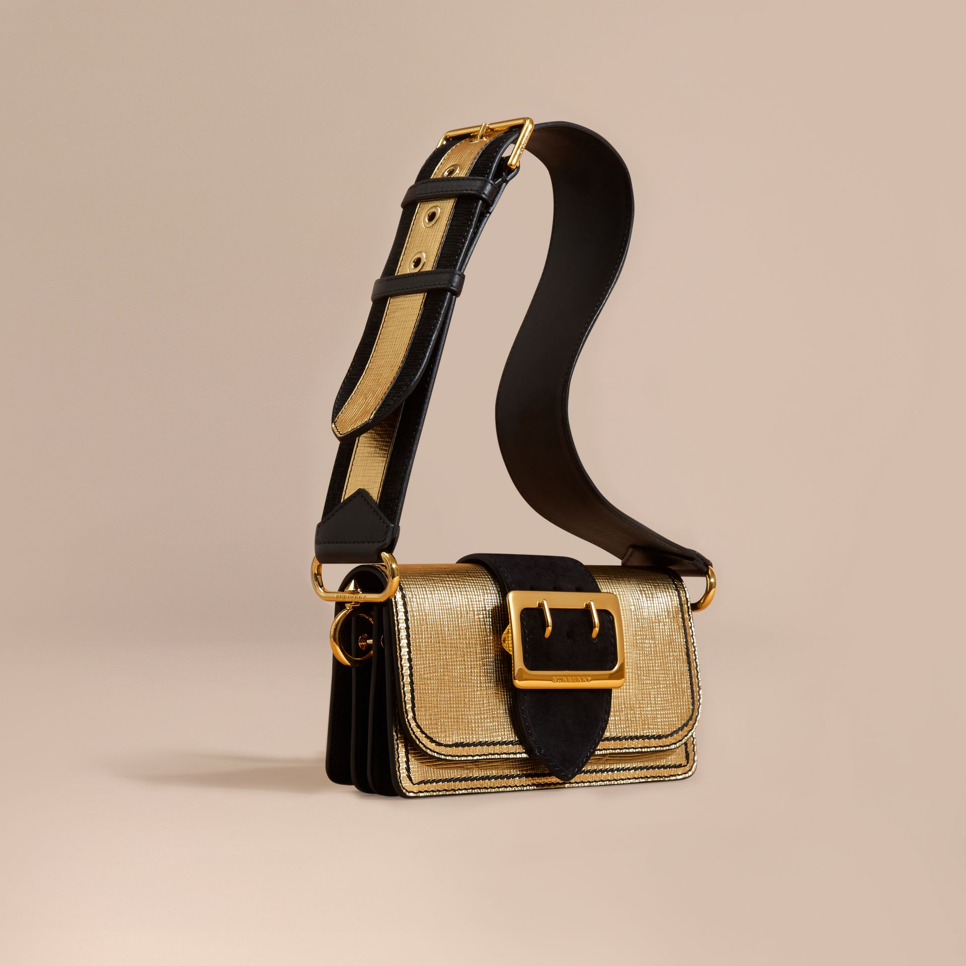 Gold/black The Small Buckle Bag in Metallic Leather and Suede - gallery image 1