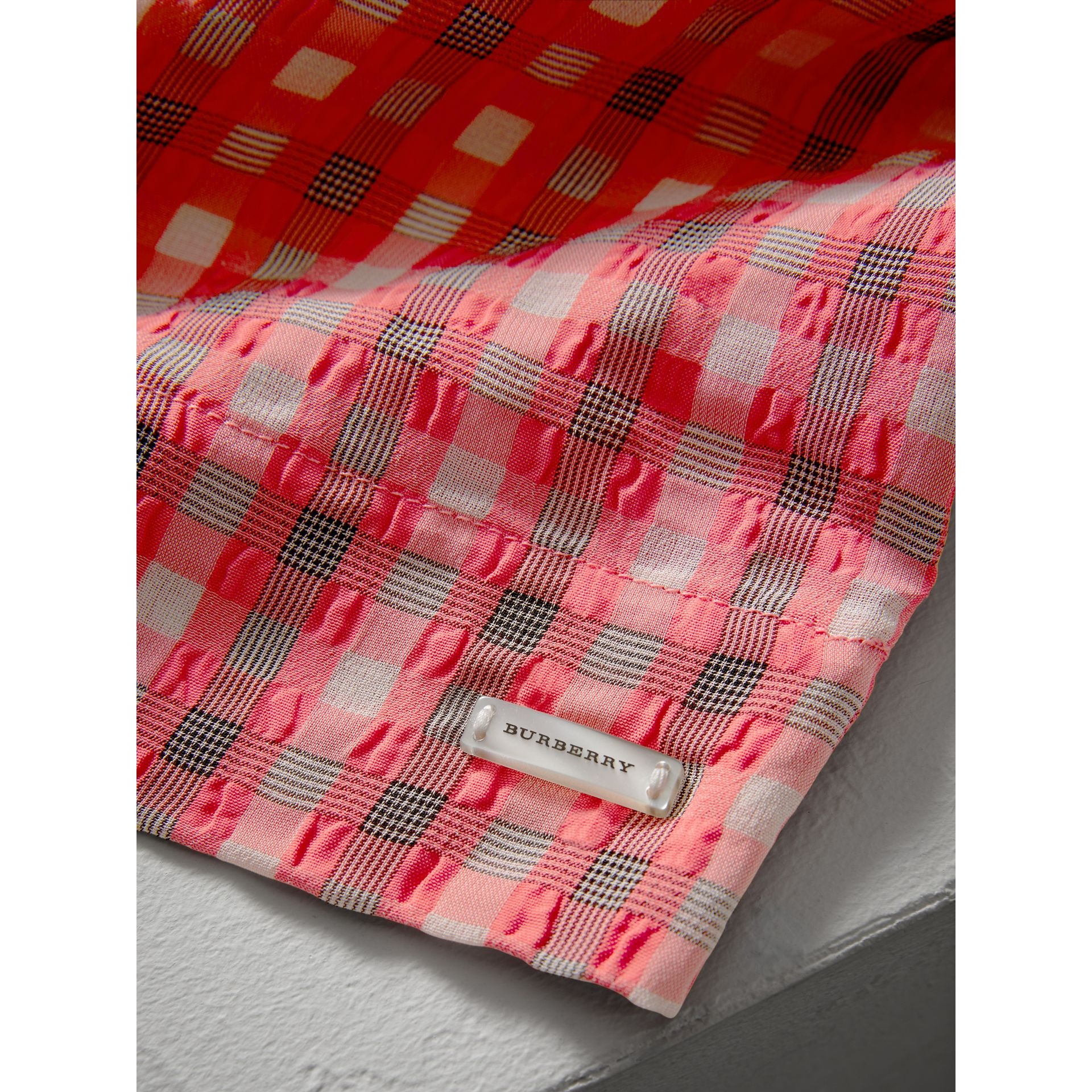 Sleeveless Check Seersucker Dress in Bright Coral Pink | Burberry - gallery image 1