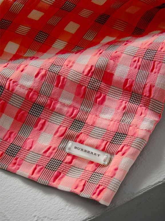 Sleeveless Check Seersucker Dress in Bright Coral Pink | Burberry - cell image 1
