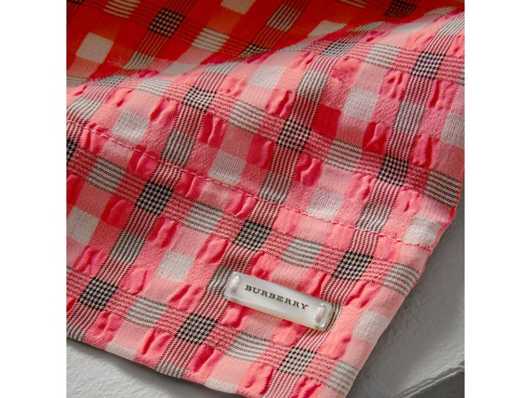 Sleeveless Check Seersucker Dress in Bright Coral Pink - Girl | Burberry - cell image 1