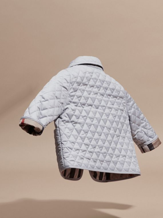 Check Detail Diamond Quilted Jacket in Ice Blue - cell image 3