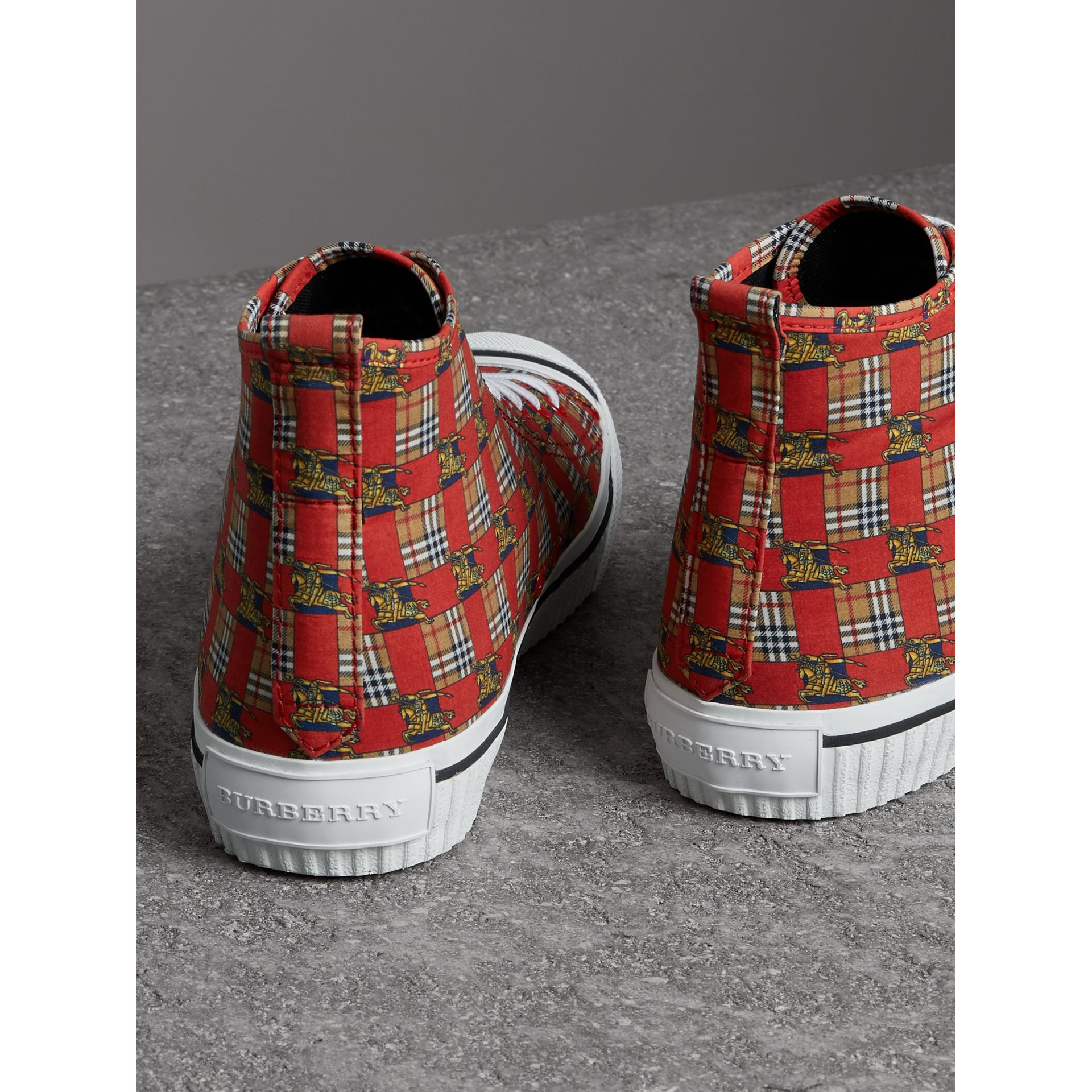 Tiled Archive Print Cotton High-top Sneakers in Bright Red | Burberry - gallery image 3