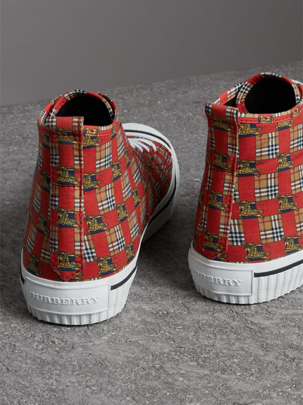 Tiled Archive Print Cotton High-top Sneakers in Bright Red | Burberry - cell image 3