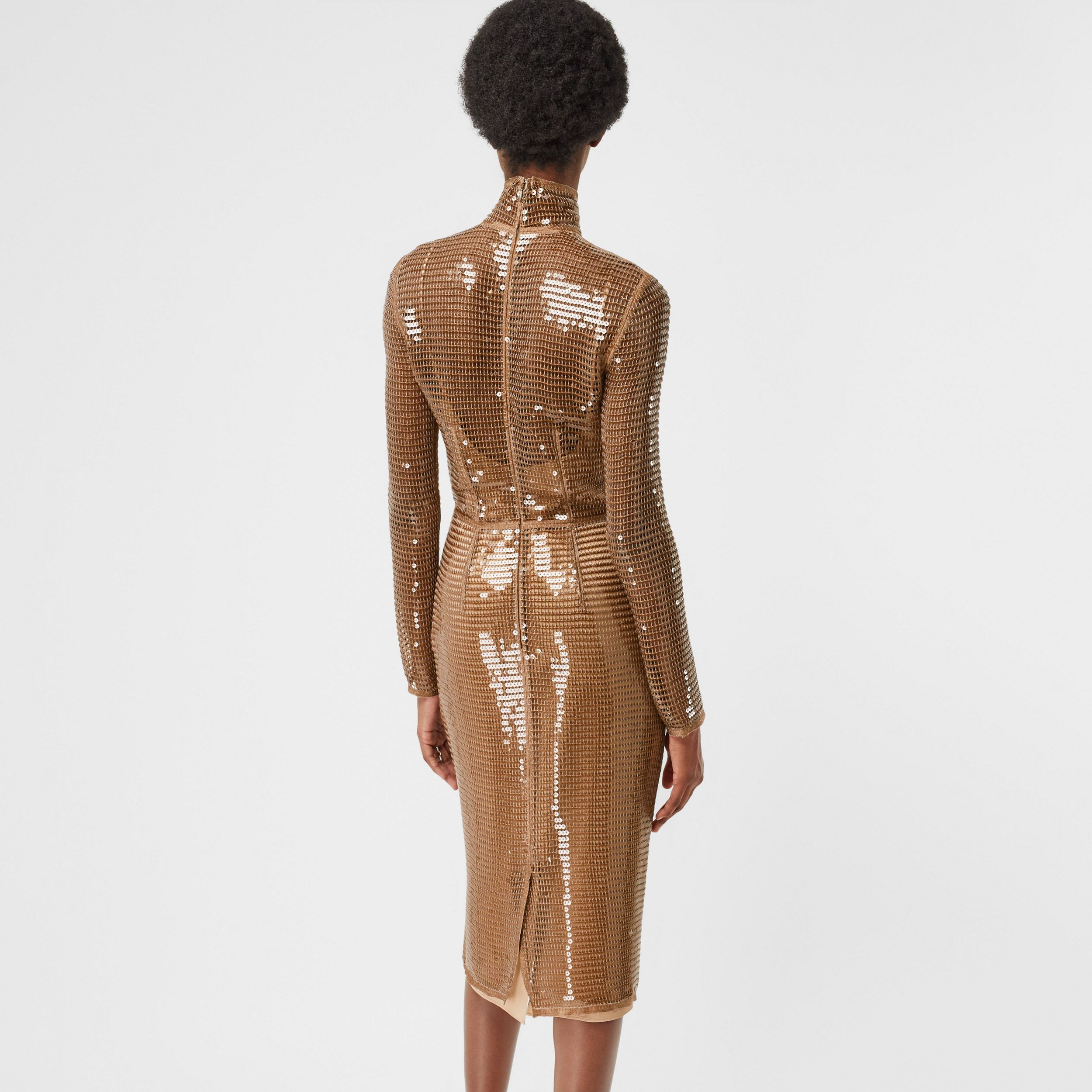Sequinned Mesh and Silk Turtleneck Dress in Bronze - Women | Burberry - 3
