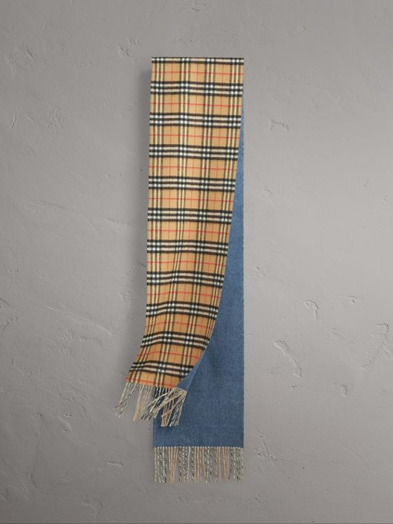 Long Reversible Vintage Check Double-faced Cashmere Scarf in Stone Blue