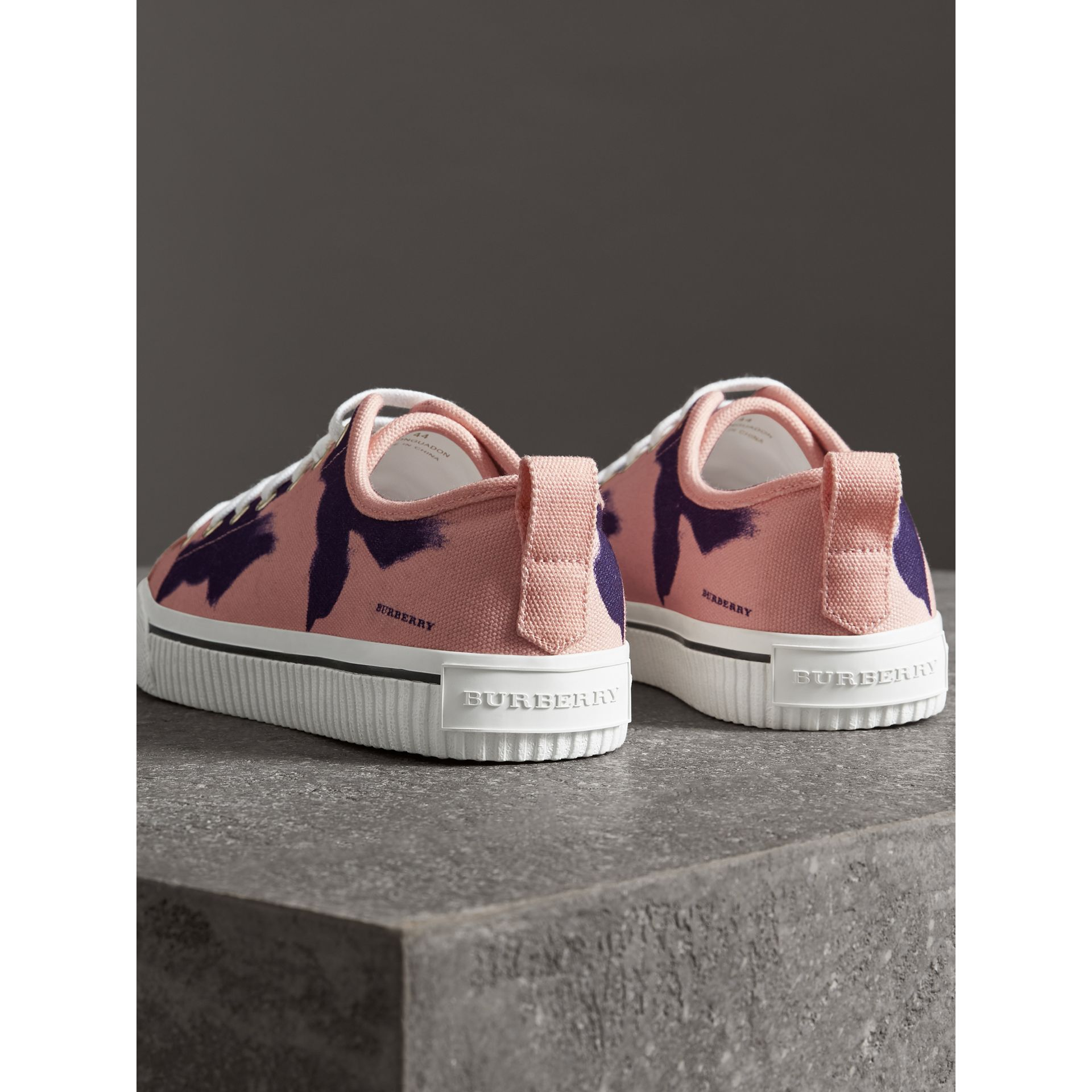 Bird Print Canvas Sneakers in Apricot Pink - Men | Burberry United Kingdom - gallery image 3