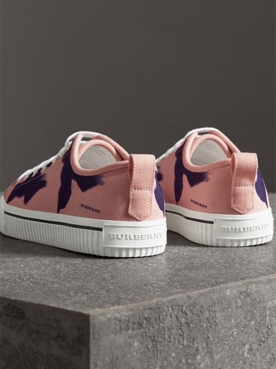 Bird Print Canvas Sneakers in Apricot Pink - Men | Burberry - cell image 2