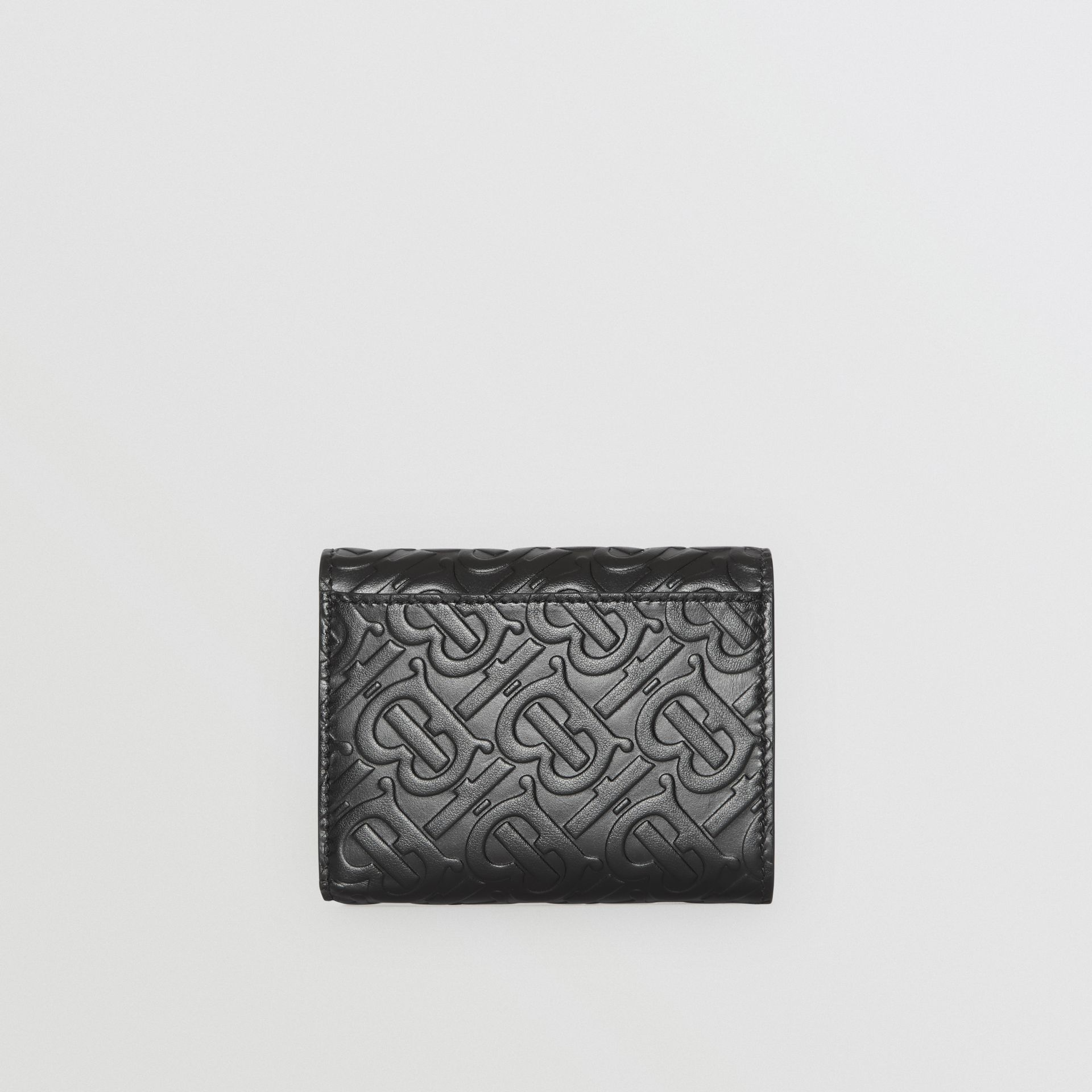 Small Monogram Leather Folding Wallet in Black | Burberry - gallery image 5