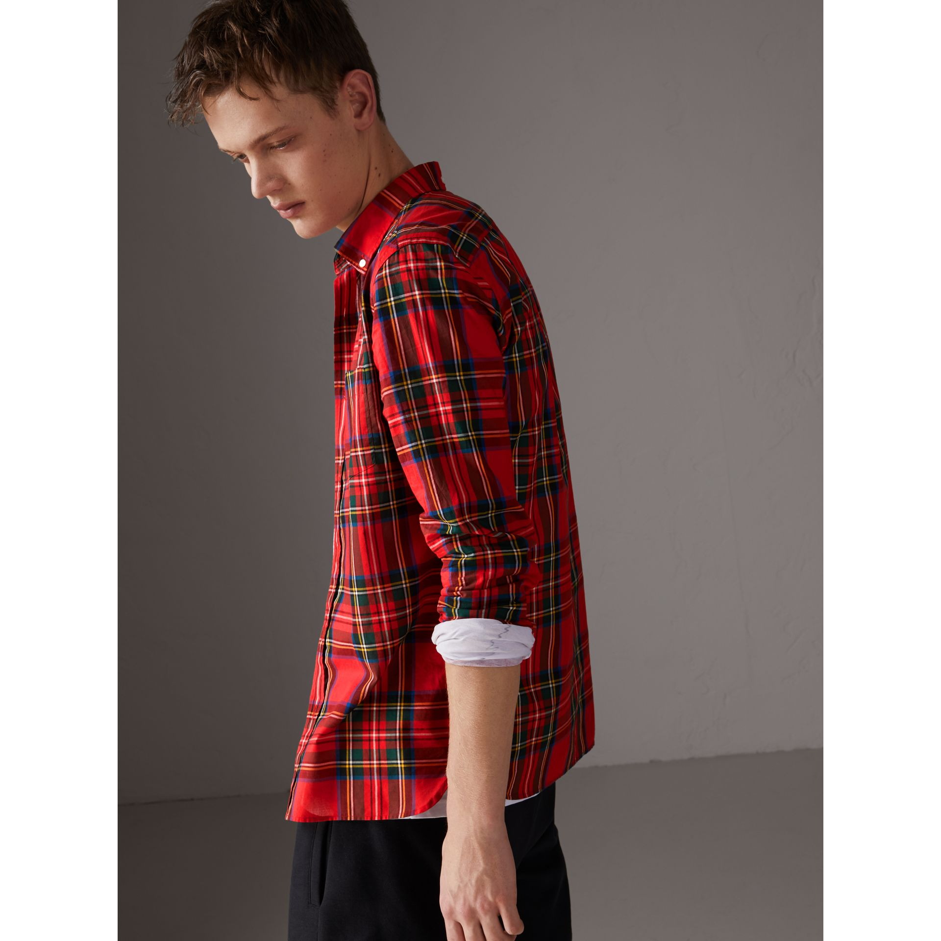 Tartan Cotton Button-down Collar Shirt in Bright Red - Men | Burberry Australia - gallery image 2