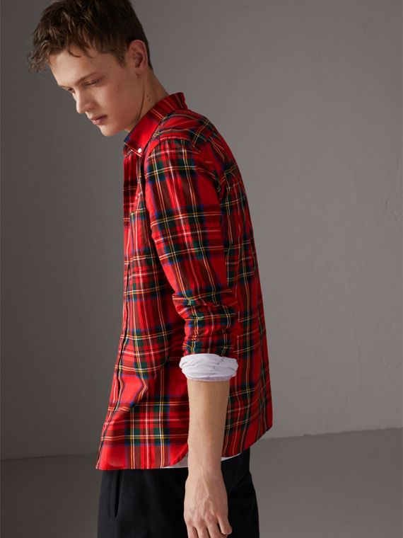 Tartan Cotton Button-down Collar Shirt in Bright Red - Men | Burberry Australia - cell image 2