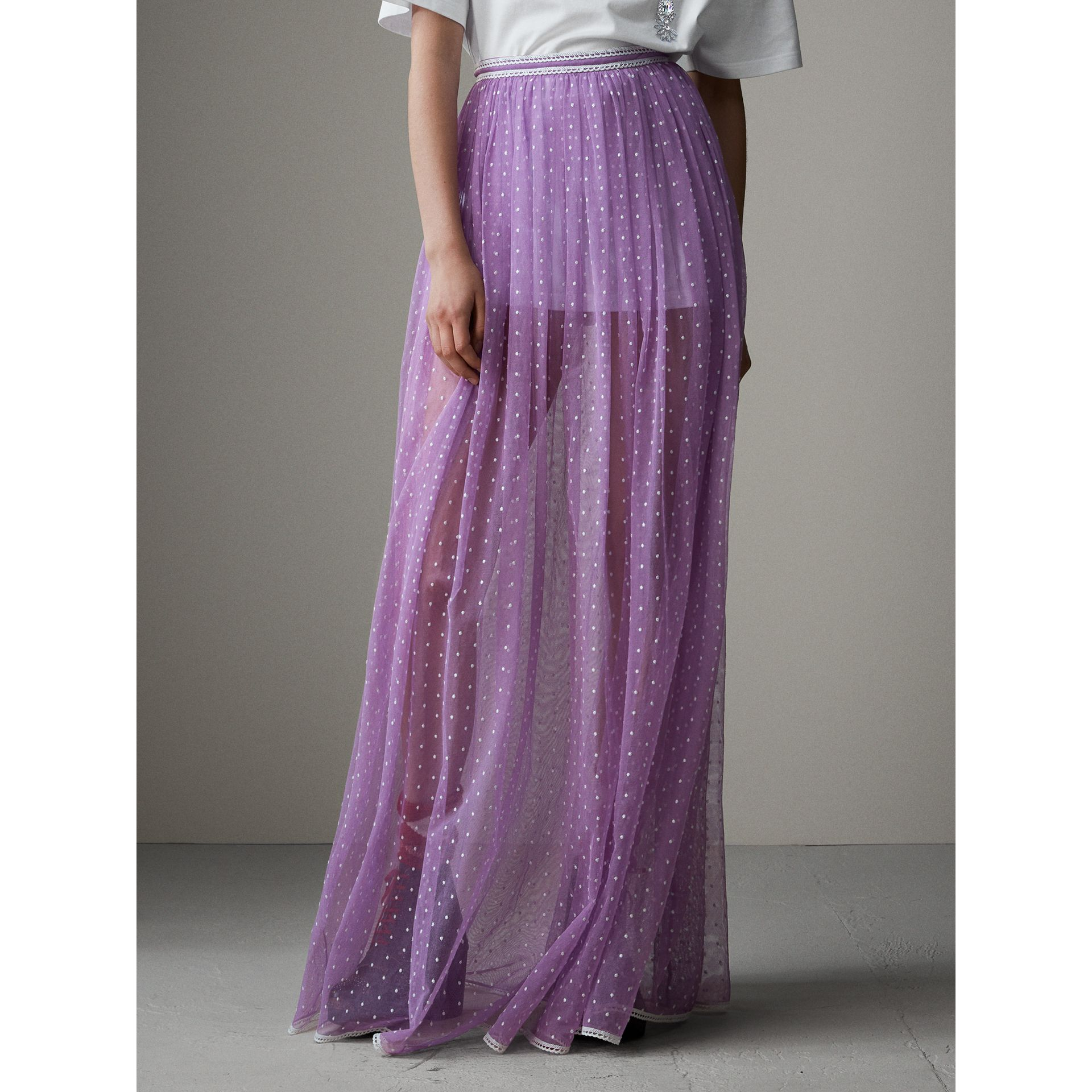 Floor-length Flocked Cotton Tulle Skirt in Lilac/white - Women | Burberry Australia - gallery image 7
