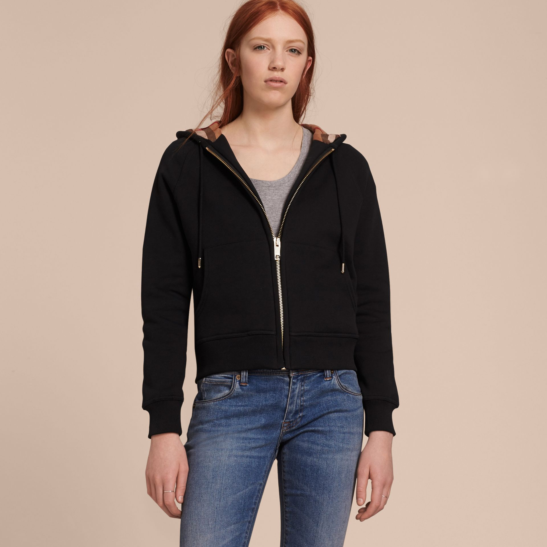 Hooded Zip-front Cotton Blend Sweatshirt in Black - gallery image 6