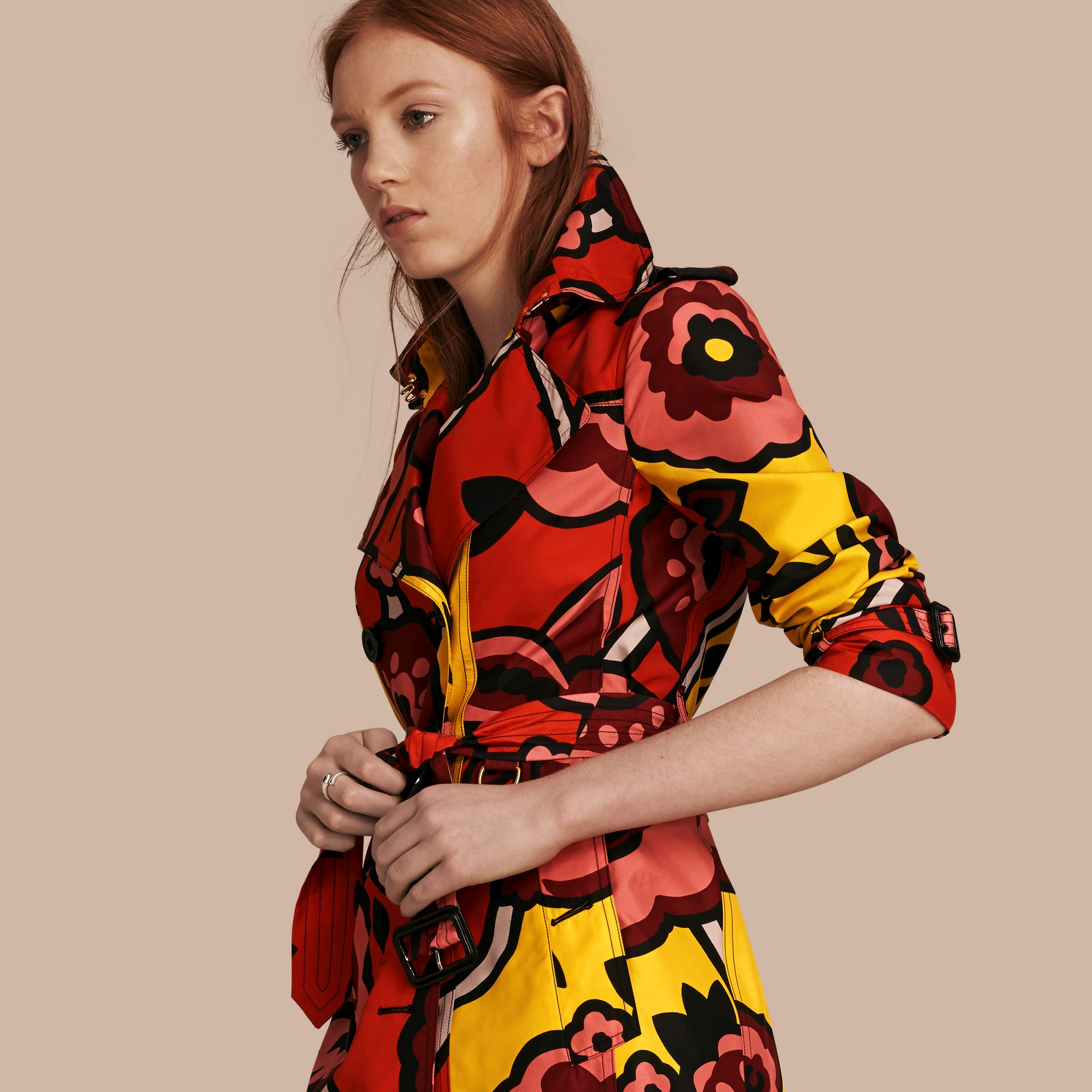 Vibrant orange Floral Print Silk Trench Coat - gallery image 7