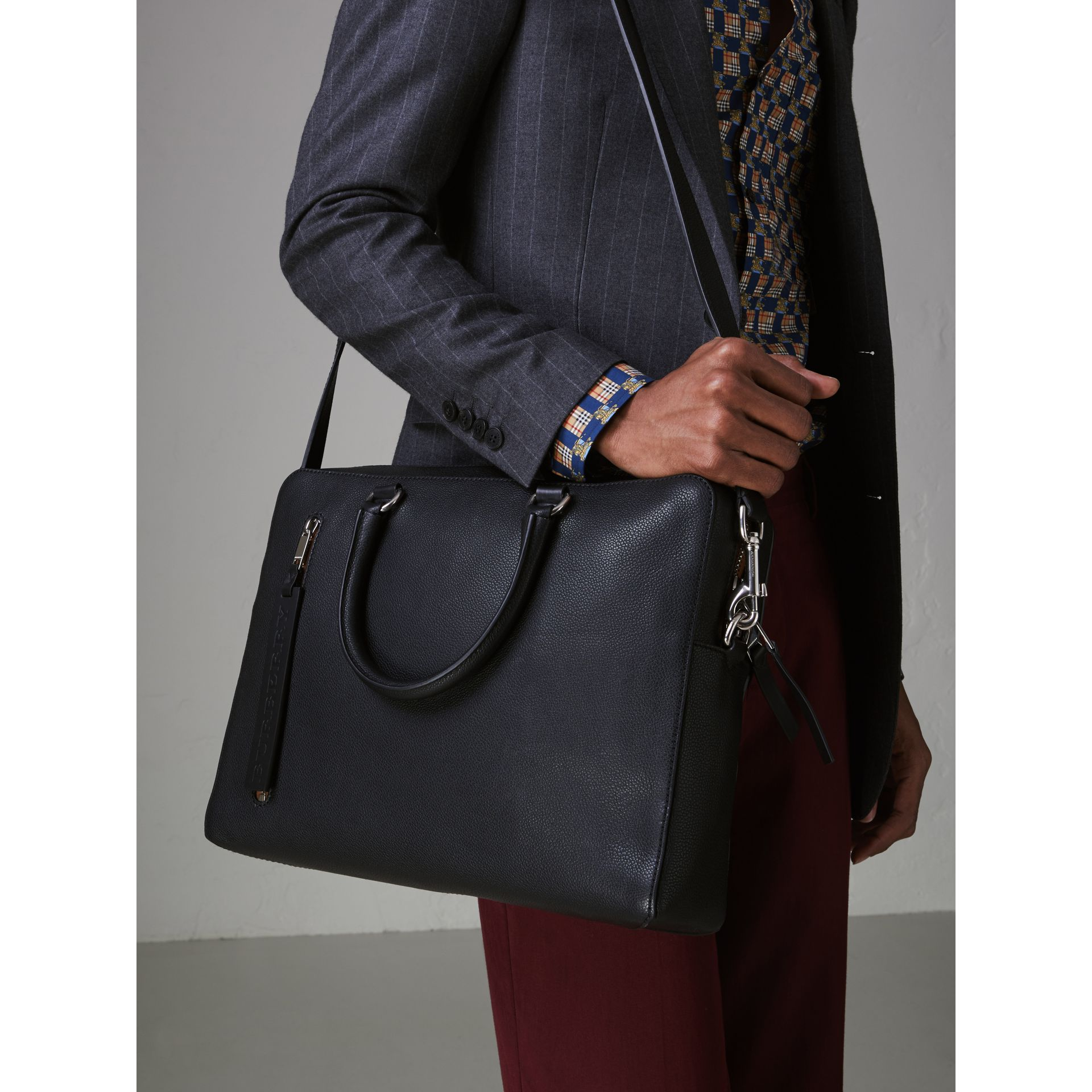 Grainy Leather Briefcase in Black - Men | Burberry - gallery image 5