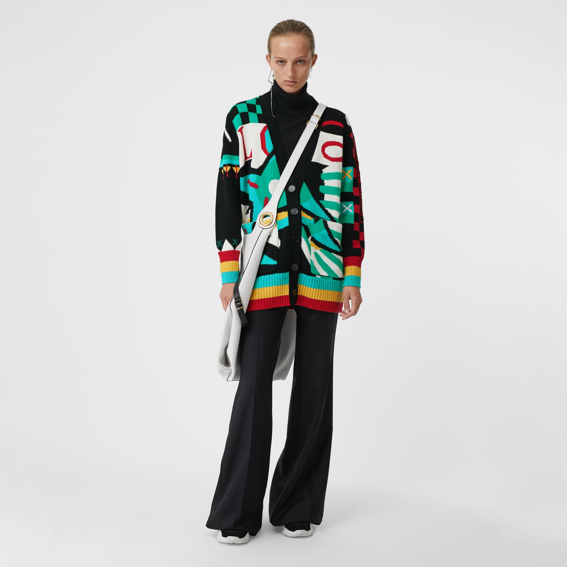 Graphic Intarsia Merino Wool Cotton Cardigan in Multicolour - Women | Burberry Singapore - gallery image 0