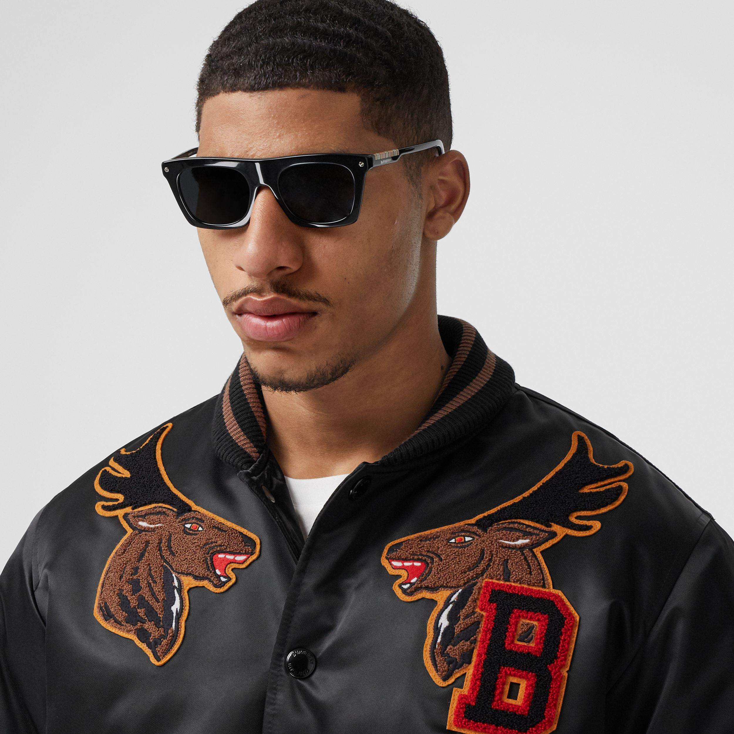 Varsity Graphic Satin Bomber Jacket in Black - Men | Burberry - 2