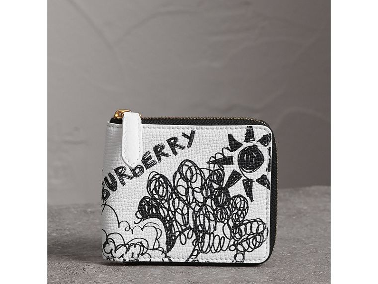Doodle Print Leather Ziparound Wallet in White - Men | Burberry Canada - cell image 4