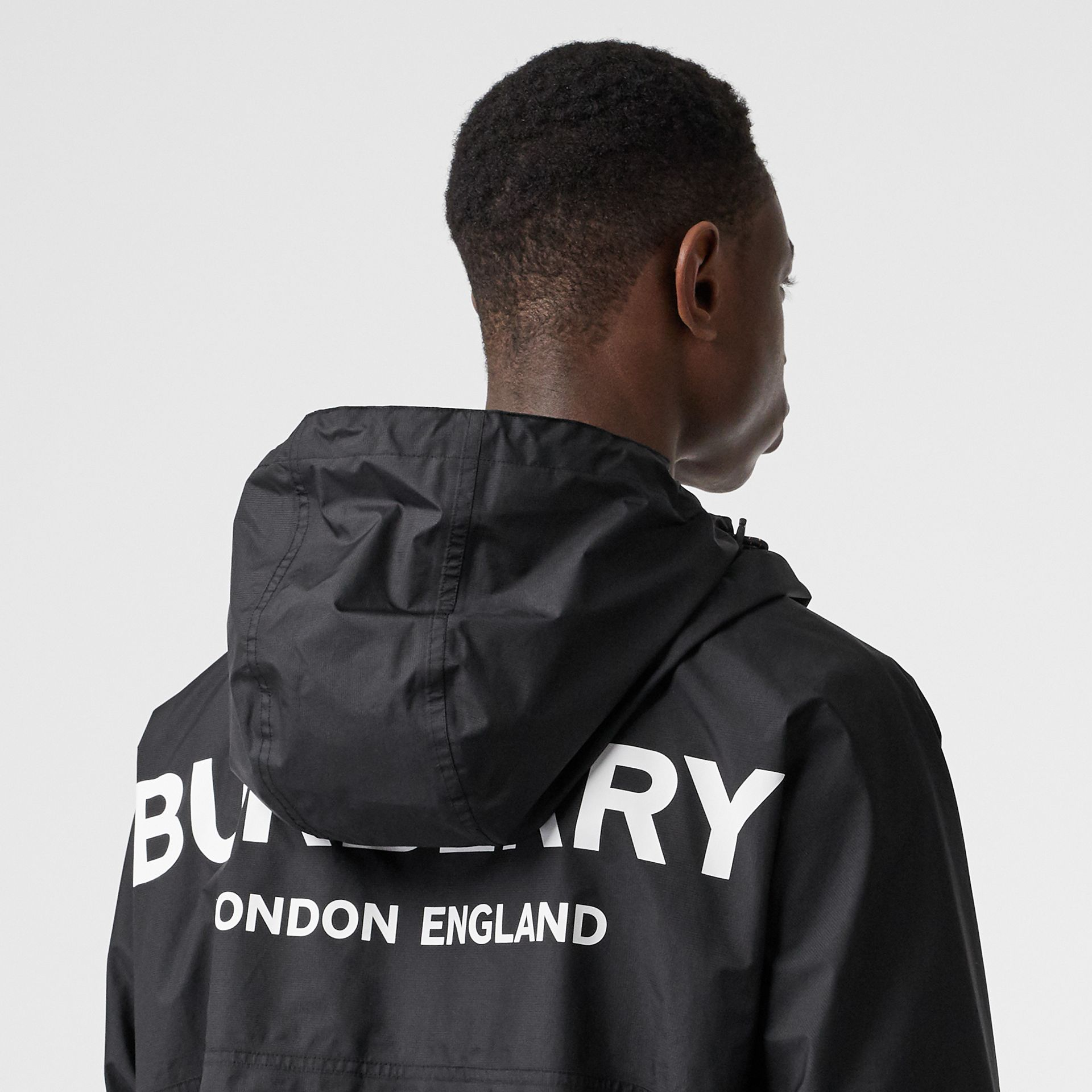 Logo Print Lightweight Cagoule in Black - Men | Burberry - gallery image 4