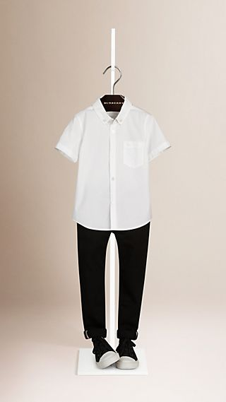 Regular Fit Button-down Collar Stretch-cotton Shirt