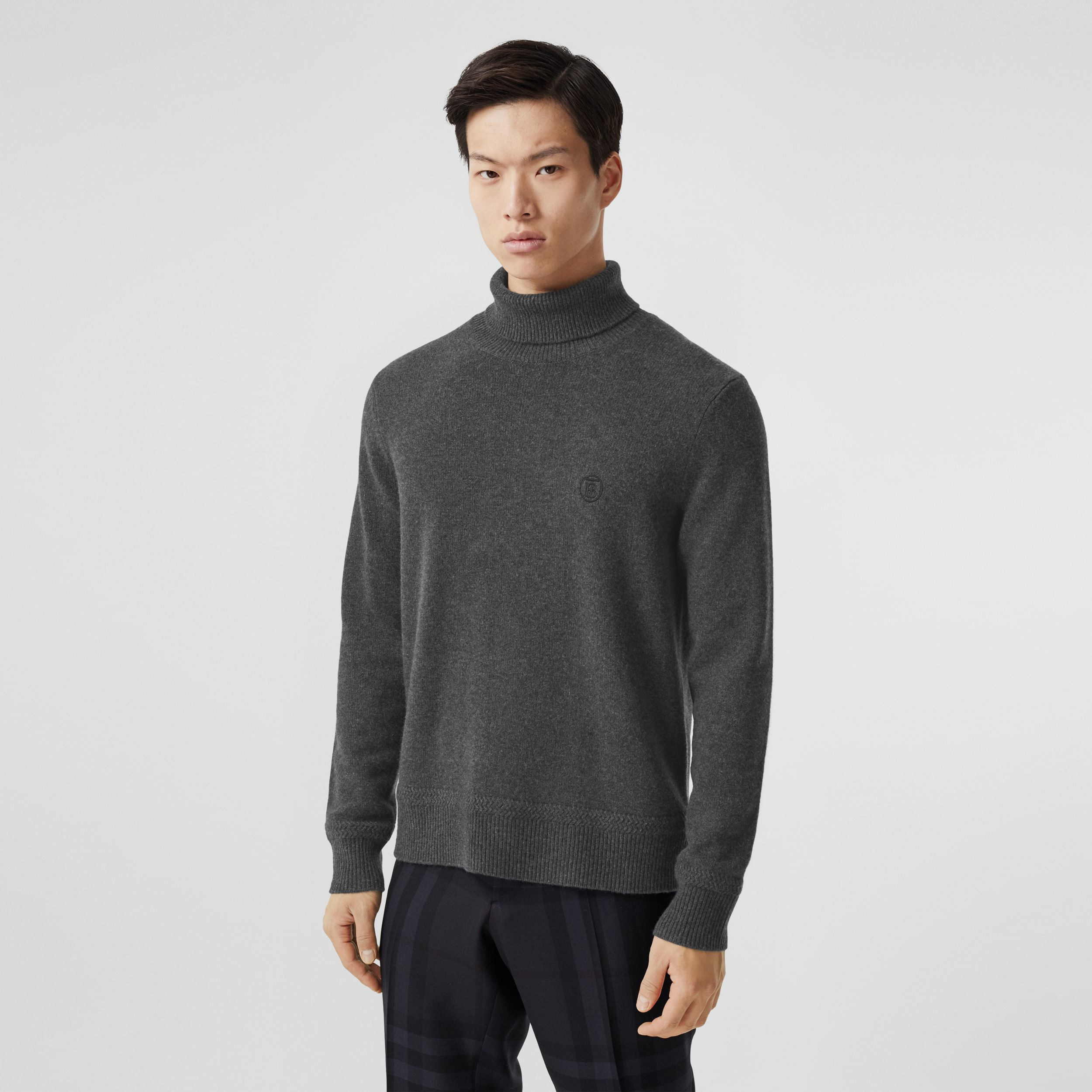 Monogram Motif Cashmere Roll-neck Sweater in Charcoal - Men | Burberry Australia - 1