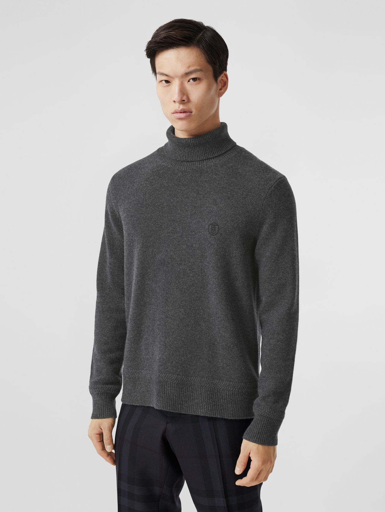 Monogram Motif Cashmere Roll-neck Sweater in Charcoal