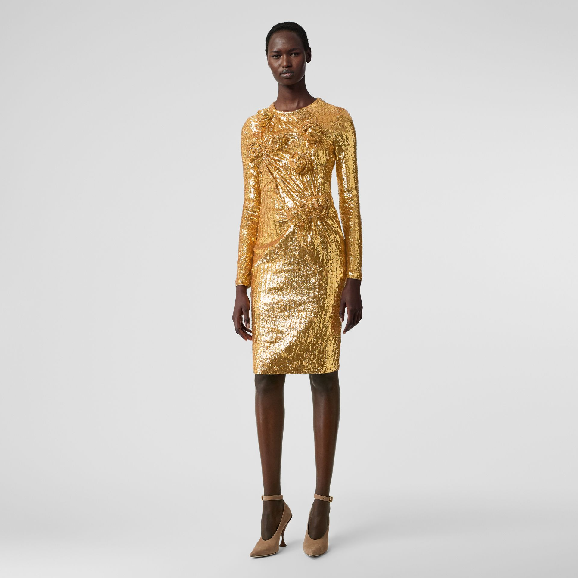 Hand-gathered Detail Sequinned Dress in Honey - Women | Burberry - gallery image 0