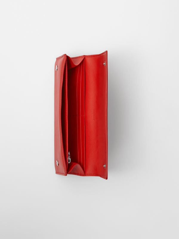 Quote Print Leather Continental Wallet in Bright Military Red - Women | Burberry - cell image 3