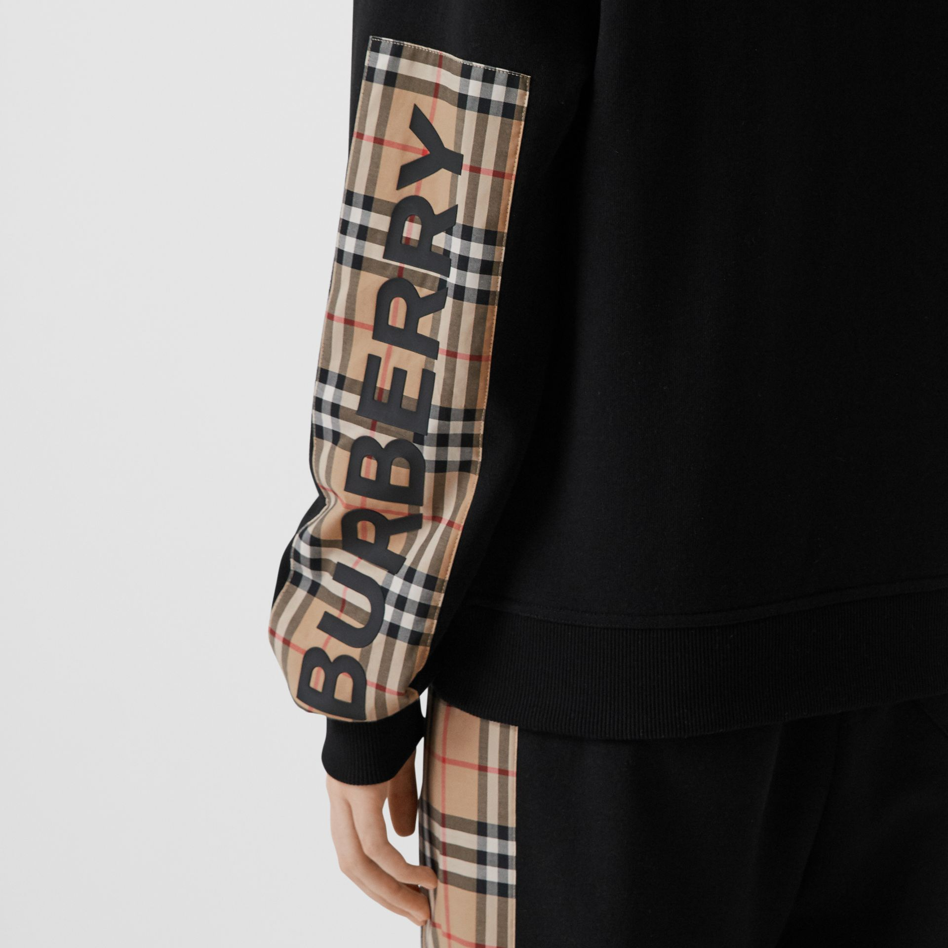 Vintage Check Panel Cotton Oversized Hooded Top in Black - Women | Burberry - gallery image 1
