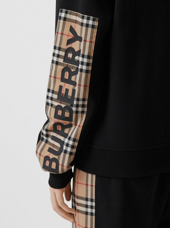 Vintage Check Panel Cotton Oversized Hooded Top in Black - Women | Burberry - cell image 1